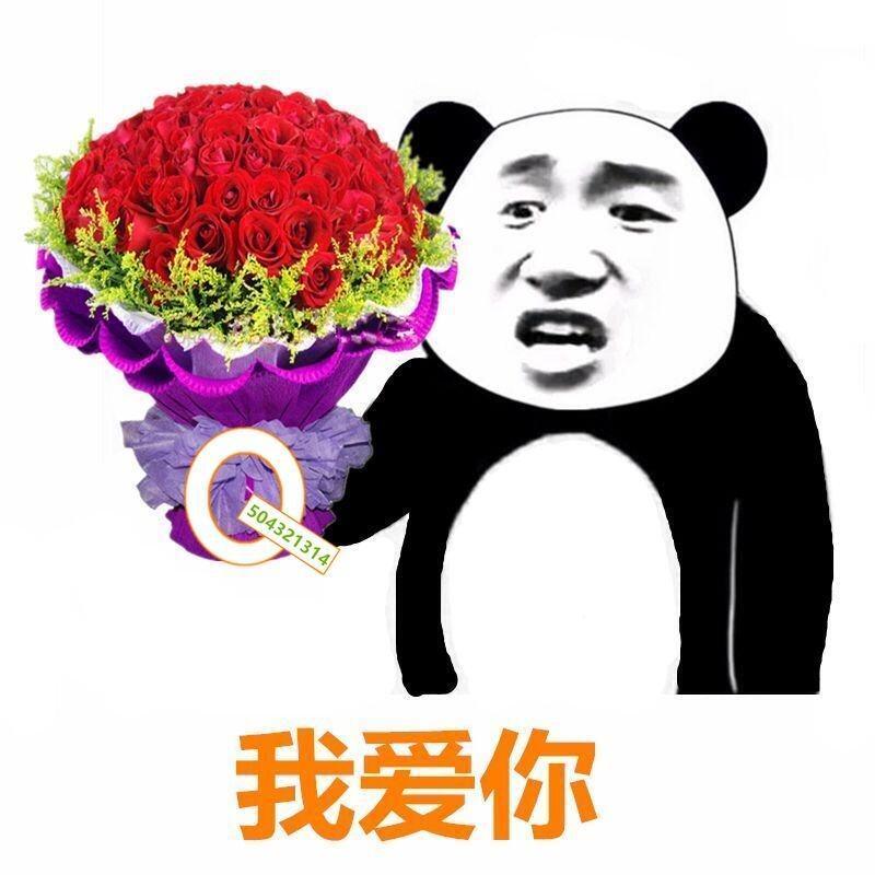 我爱你(熊猫人手拿鲜花)