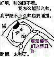 好烦,帅的睡不着,我怎么能那么帅呢。我宁愿不那么也要睡觉!(卧槽太好了)