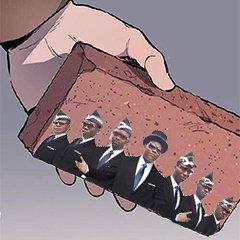 砖头黑人抬棺警告 - 彩色砖头表情包系列