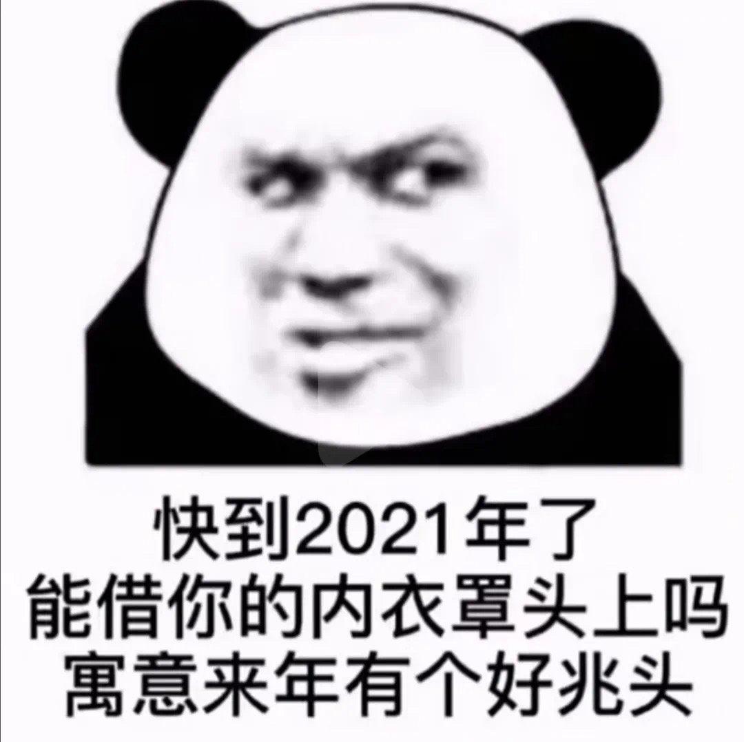 快到2021年了能借你的内衣罩头上吗寓意来年有个好兆头(熊猫头表情包)